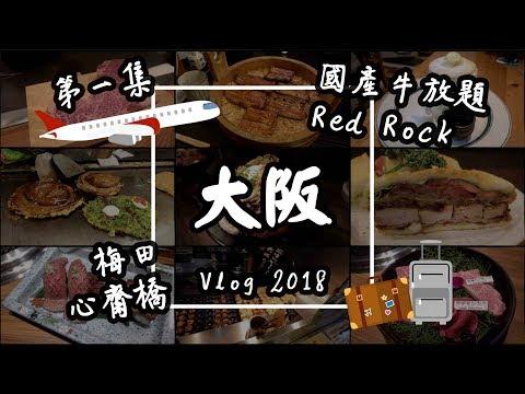 【大阪Vlog#1】日本美食自由行:國產牛燒肉放題、Red Rock牛丼、函太郎迴轉壽司、心齋橋、梅田 |