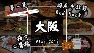 【大阪Vlog#1】日本美食自由行:國產牛燒肉放題、Red Rock牛丼、函太郎迴轉壽司、心齋橋、梅田 | 旅遊攻略2019