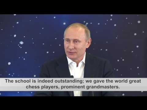 Russian President Vladimir Putin Opens The Chess Section Of The Sirius Educational Centre