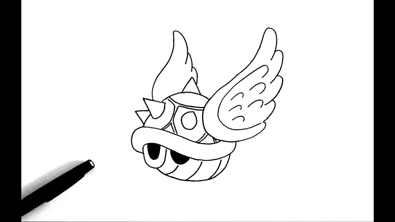 Comment Dessiner La Carapace Volante Mario Youtube
