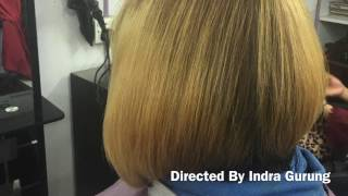Thick hair bob cut and blow dry