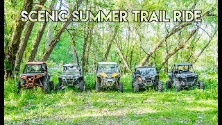 Scenic Summer Trail Ride - RZR Turbo + Maverick X3 + RZR S + Wildcat - SXS/UTV Stuck in Mud