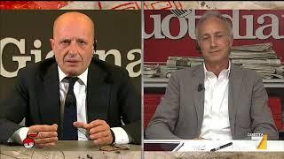 Sallusti vs Travaglio: 'Grillo è il suo padrone', 'Parla del tuo padrone pregiudicato'