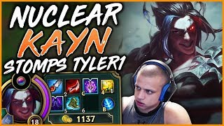 RANK 1 KAYN NA STOMPS TYLER1 WITH FULL NUCLEAR BLUE KAYN (PATCH 9.9) - League of Legends
