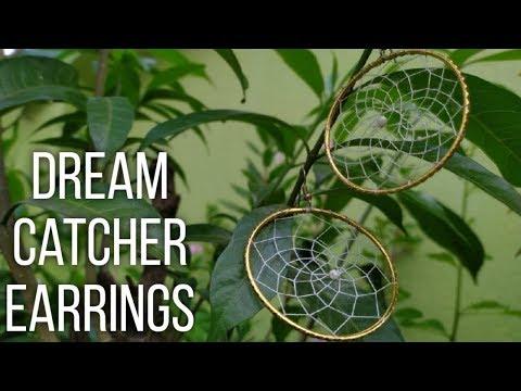 How To Make Beautiful Dream Catcher Earrings?|| Dainty Gold and white Dream Catcher Earrings