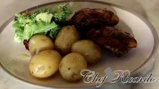 Paprika Pan Fried Chicken Served With New Potatoes And Salad.