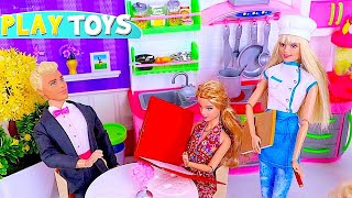 Barbie Doll Opens New Restaurant! 🎀 Play Doh Cooking Pizza and Pasta!