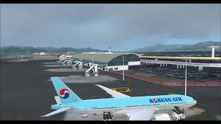 PMDG 777 Korean air 1018 Jeju to Gimhae on vatsim,fsx,fs2crew,777 immersion