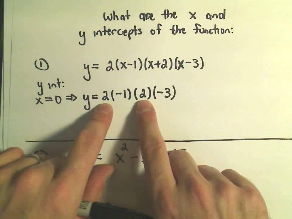 X-Intercepts and Y-Intercepts of a Functions and Finding ... Y Intercept Example