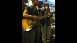 Sax / guitar battle in NYC subway - amazing!!