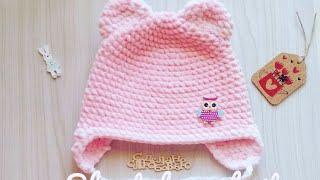 Детская шапочка крючком из плюшевой пряжи/детская плюшевая  шапка с ушками