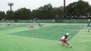 5日 テニス男子シングルス 13コート 広島なぎさ×佐賀西 1回戦 3