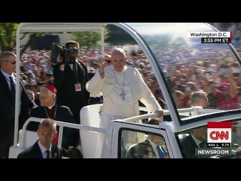 Pope Francis arrives at Catholic University
