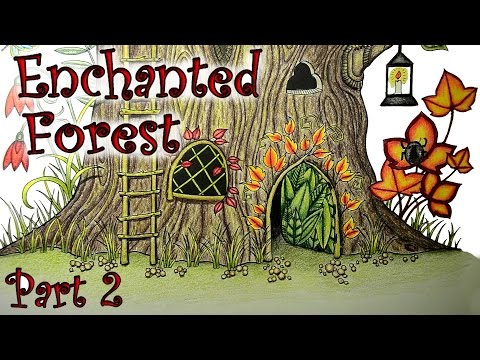 Coloring Book Tutorial Enchanted Forest Tree Stump with Colored Pencils Part 2