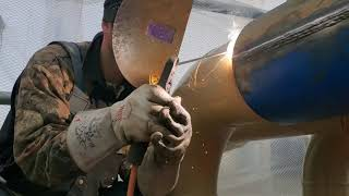 Here is the video of welding on a split tee on a live line. I just ...
