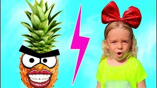 Funny video with Girl  and Fruits | Video amuzant cu  fetita si fructele | Istorioara Anabella sh