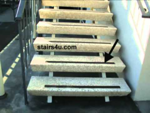 Non Skid Stair Tape On Smooth Exterior Steps   Stairway Safety   YouTube