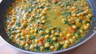 Garbanzos con Espinacas - Inspirado en la comida Hindú