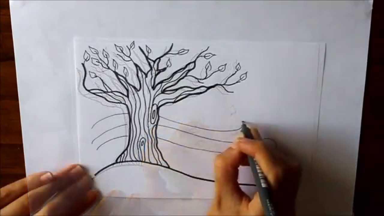 Cmo dibujar Un rbol de Otoo Dibuja Conmigo Dibujos de Otoo