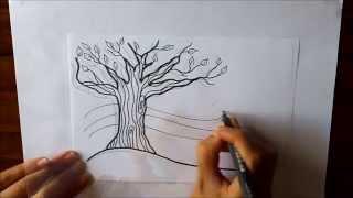 Cómo dibujar Un Árbol de Otoño Dibuja Conmigo Dibujos de Otoño