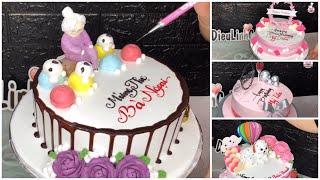 Làm bánh kem hiện đại , tạo hình người mừng thọ , tạo hình con chó mini bằng kem | Dieulinhcake