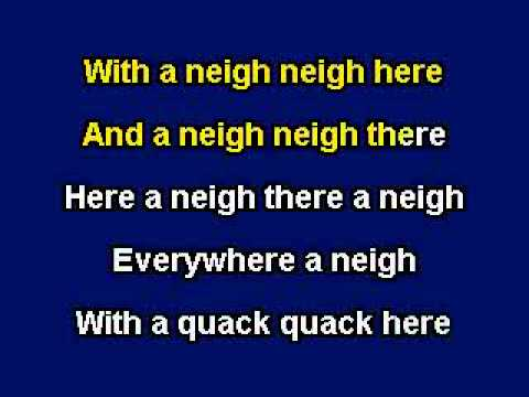 Old MacDonald had A Farm, Karaoke video with lyrics, Instrumental Version