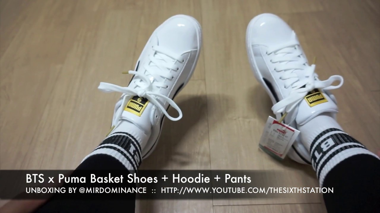 finest selection 237d4 bf6dc VLOG 방탄소년단 BTS x Puma Basket Patent Shoes + Hoodie + Pants Unboxing