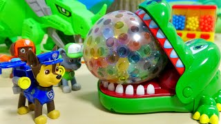 Paw Patrol Orbeez Water Balloon Bomb Experiment Crocodile Attack | カーズ パウ・パトロール ワニに変身!