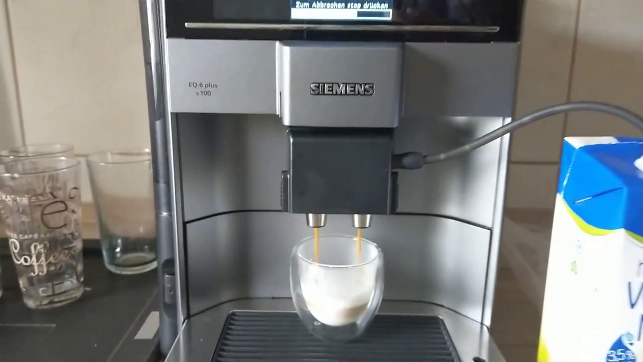 Siemens Eq 6 Plus S100 Test Espresso Machiato Siemens Kaffeevollautomat Eq 6 Plus S100 Test Youtube