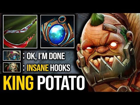 EPIC MAX RANGE HOOKS By KING POTATO Pudge   7.23 DOTA 2 OUTLANDERS UPDATE   Pudge Official