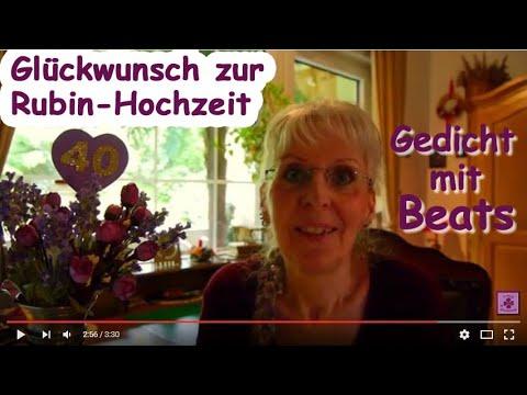 Fg167 Herzlichen Gluckwunsch Zum 40 Hochzeitstag Gedicht Zur Rubin Hochzeit