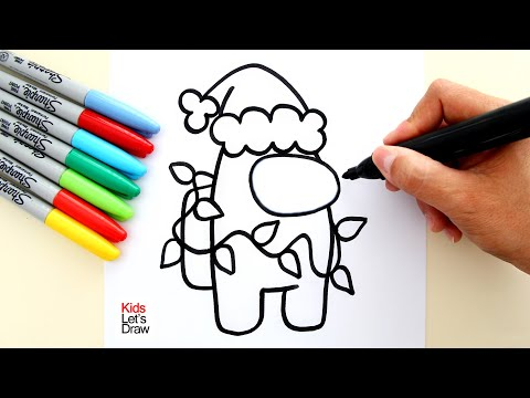 How to draw AMONG US Crewmate Red CHRISTMAS