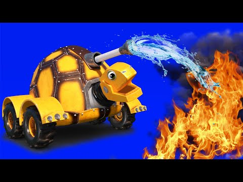 AnimaCars - The TURTLE FIRE TRUCK stops the blaze in the forest - cartoons with trucks & animals