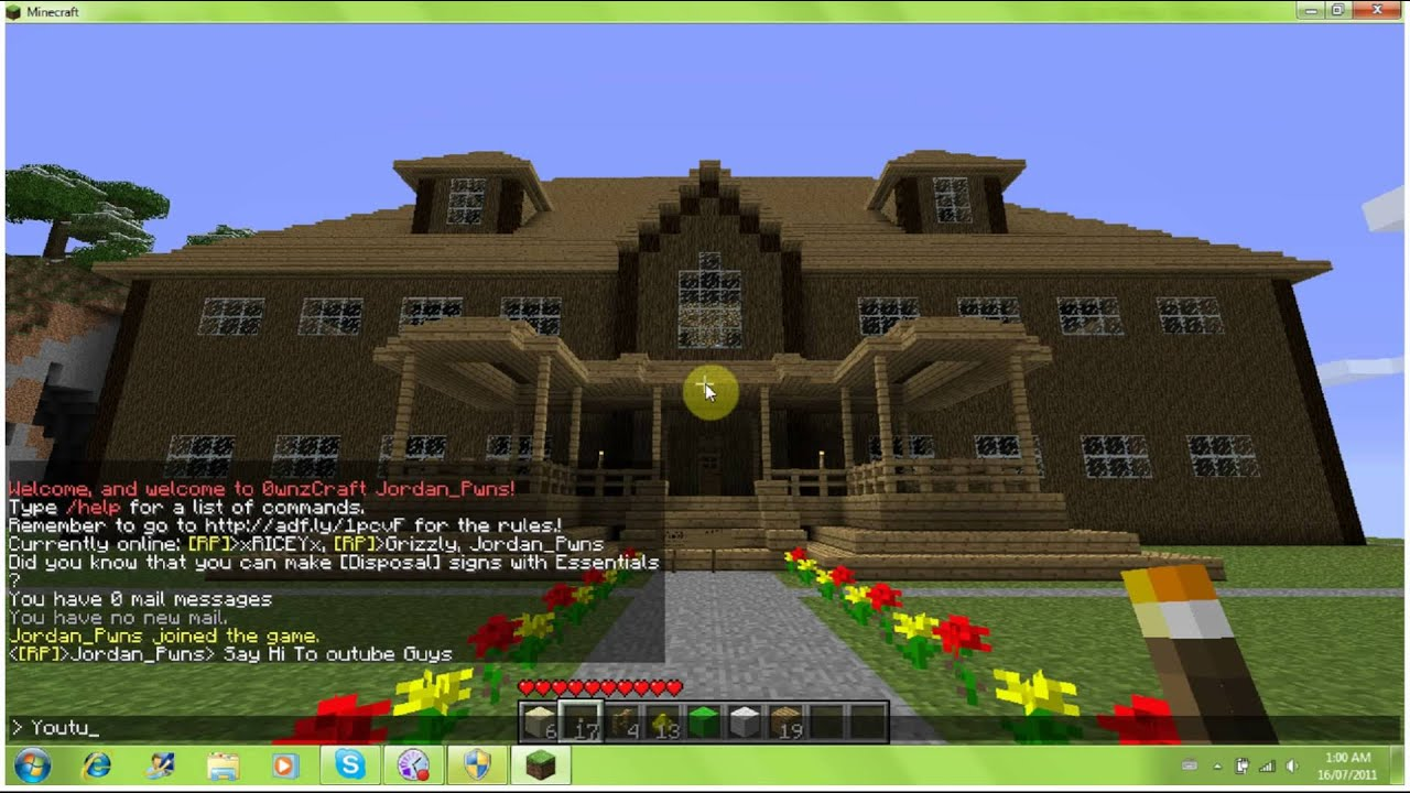 minecraft mansion made out of wood youtube. Black Bedroom Furniture Sets. Home Design Ideas