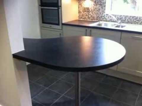 Bespoke Laminate worktop countertop breakfast bar made and edged