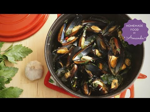 White Wine Mussels With Pasta & Bread   Homemade Food By Amanda