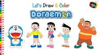 How to Draw Doraemon and Friends - Let's Draw and Color - Learn Colors for Kids Video HD