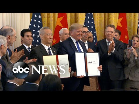 Trump signs partial trade deal with China l ABC News