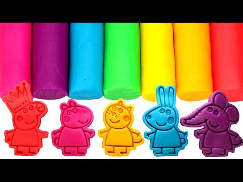 Peppa Pig's Best Friends Play Doh Molds Learn Colors with Peppa Suzy Sheep Candy Cat Rebecca Emily
