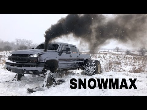 EXTREME SNOWBUSTING with SKIS and 36 WIDES on my Duramax