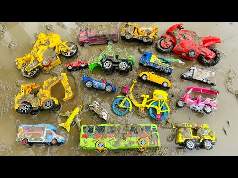 Cleaning Muddy & Dirty Colorful Toy Vehicles   Bicycle, Excavator,City Bus, Motorbike, Crane, Truck thumbnail