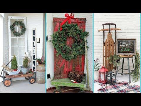 DIY Shabby chic style Front Porch Christmas decor Ideas❤| Christmas Home decor| Flamingo Mango|