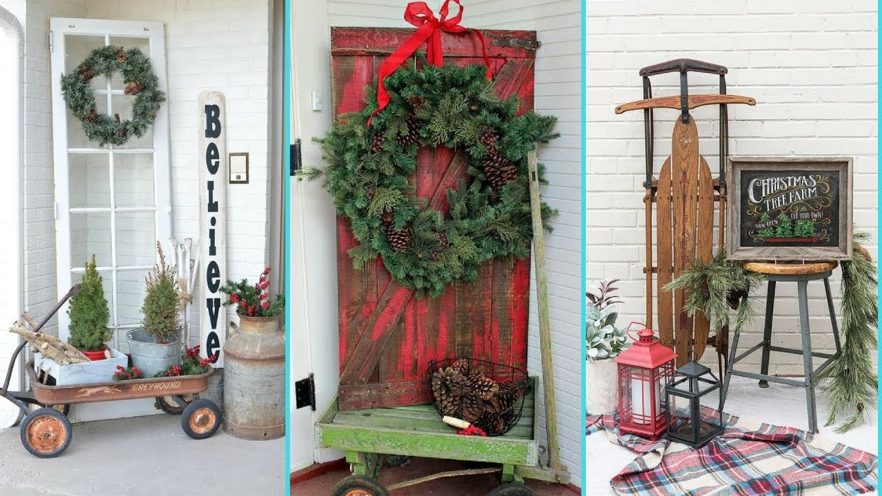 diy shabby chic style front porch christmas decor ideas christmas home decor flamingo mango - Christmas Home Decor Ideas