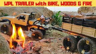 WPL C14 TRAILER CARRYING BIKE, WOODS and FIRE | RC TOYOTA HILUX | RC With Popeye