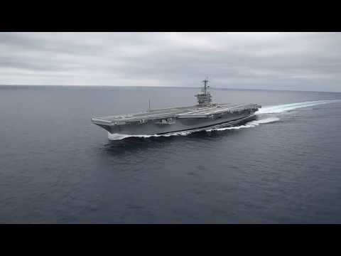 An aircraft carrier changes direction quickly