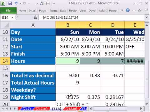 Excel Magic Trick 718 Calculate Hours Worked (Day or Night Shift