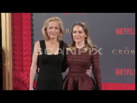 Gillian Anderson with her daughter Piper The Crown premiere red carpet