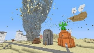 Minecraft: TORNADO MOD VS. BIKINI BOTTOM MAP! (Spongebob Squarepants Map!)