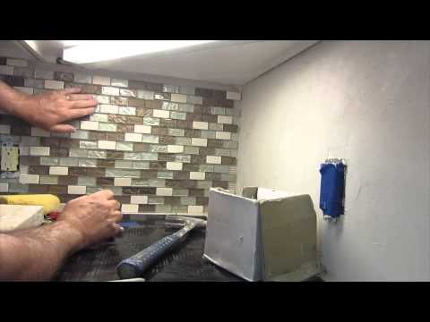 How to install a glass mosaic tile backsplash parts 1 2 - How to replace backsplash ...
