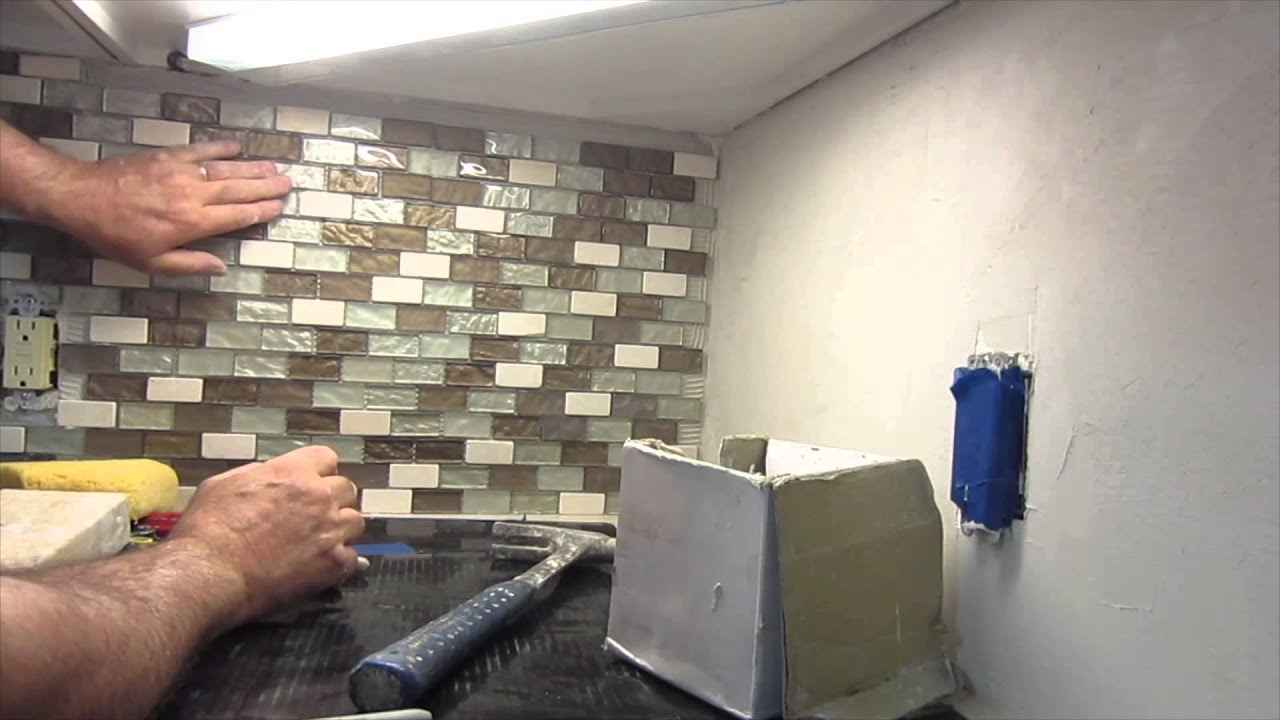 how to install a glass mosaic tile backsplash parts 12 and 3 youtube